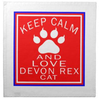 Guarde la calma y ame a Devon Rex Servilletas Imprimidas