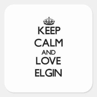 Guarde la calma y ame a Elgin Pegatina Cuadrada