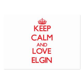 Guarde la calma y ame a Elgin Tarjetas De Visita Grandes