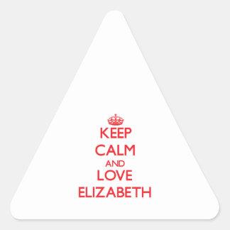 Guarde la calma y ame a Elizabeth Pegatina Triangular