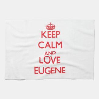 Guarde la calma y ame a Eugene Toallas De Mano