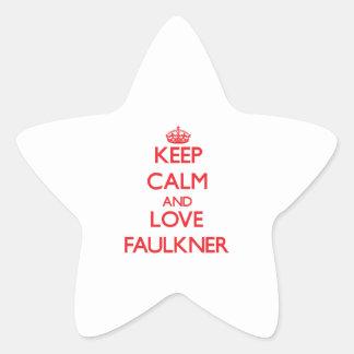 Guarde la calma y ame a Faulkner Pegatina En Forma De Estrella