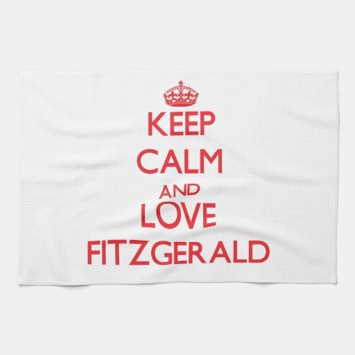 Guarde la calma y ame a Fitzgerald Toallas De Mano