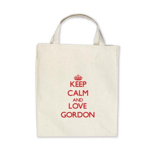 Guarde la calma y ame a Gordon Bolsas De Mano