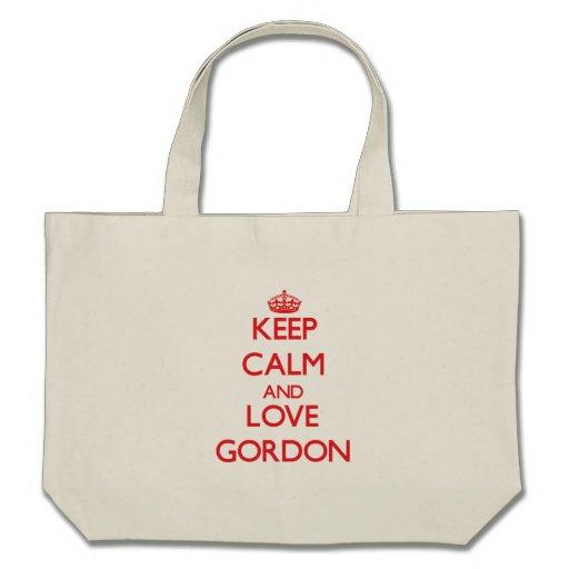 Guarde la calma y ame a Gordon Bolsa De Mano