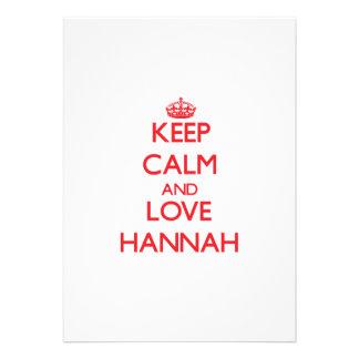Guarde la calma y ame a Hannah Anuncio Personalizado