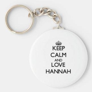 Guarde la calma y ame a Hannah Llavero Redondo Tipo Pin