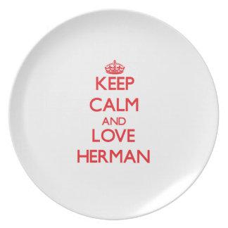 Guarde la calma y ame a Herman Plato Para Fiesta