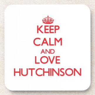 Guarde la calma y ame a Hutchinson Posavasos De Bebidas