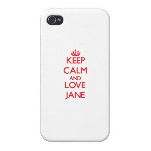 Guarde la calma y ame a Jane iPhone 4/4S Carcasa