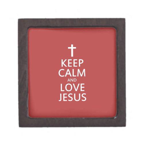 Guarde la calma y AME a Jesús Cajas De Joyas De Calidad