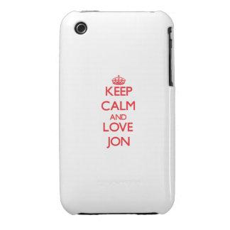 Guarde la calma y ame a Jon Case-Mate iPhone 3 Funda