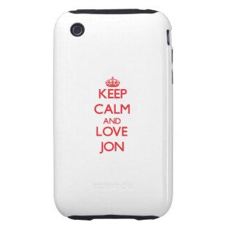 Guarde la calma y ame a Jon Tough iPhone 3 Coberturas
