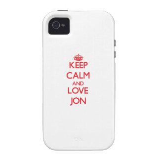 Guarde la calma y ame a Jon Case-Mate iPhone 4 Carcasa