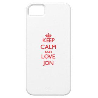 Guarde la calma y ame a Jon iPhone 5 Carcasas