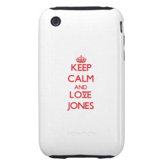 Guarde la calma y ame a Jones iPhone 3 Tough Fundas