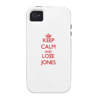 Guarde la calma y ame a Jones iPhone 4 Carcasa