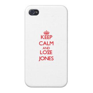 Guarde la calma y ame a Jones iPhone 4 Protector
