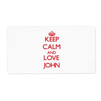 Guarde la calma y ame a Juan Etiquetas De Envío