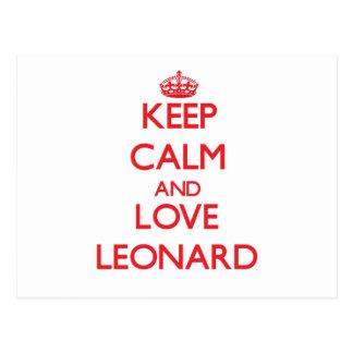 Guarde la calma y ame a Leonard Tarjetas Postales