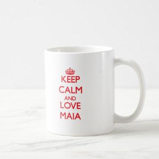 Guarde la calma y ame a Maia Taza De Café
