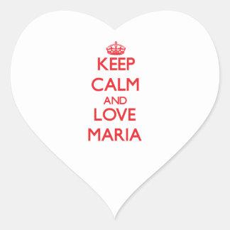 Guarde la calma y ame a Maria Calcomanías De Corazones