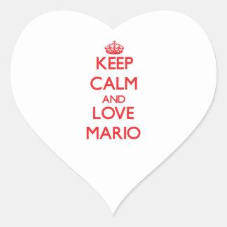 Guarde la calma y ame a Mario Pegatina Corazón Personalizadas