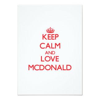 Guarde la calma y ame a Mcdonald Invitación 12,7 X 17,8 Cm