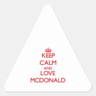 Guarde la calma y ame a Mcdonald Calcomanías Triangulos Personalizadas