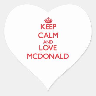 Guarde la calma y ame a Mcdonald Pegatinas Corazon Personalizadas