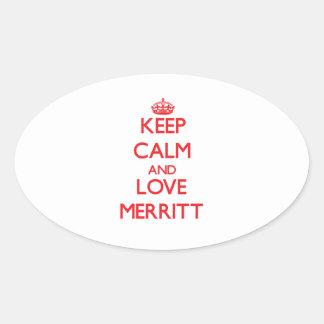 Guarde la calma y ame a Merritt Calcomania De Óval Personalizadas
