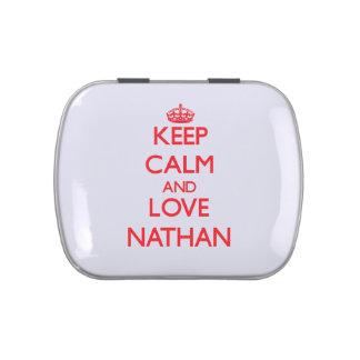 Guarde la calma y ame a Nathan Latas De Caramelos