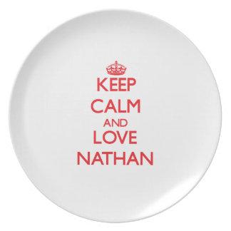 Guarde la calma y ame a Nathan Plato De Comida