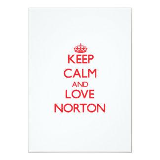 Guarde la calma y ame a Norton Invitación 12,7 X 17,8 Cm