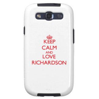 Guarde la calma y ame a Richardson Galaxy SIII Protectores