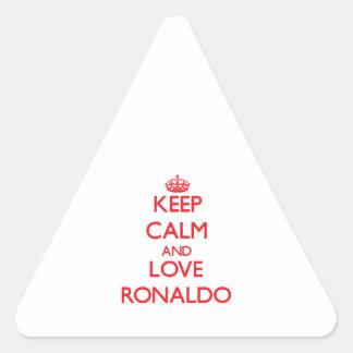 Guarde la calma y ame a Ronaldo Pegatina De Triangulo Personalizadas