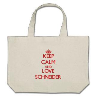 Guarde la calma y ame a Schneider Bolsas De Mano
