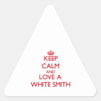 Guarde la calma y ame a Smith blanco Calcomanías Trianguloes Personalizadas