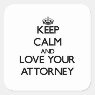 Guarde la calma y ame a su abogado colcomanias cuadradases