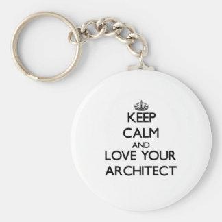 Guarde la calma y ame a su arquitecto llaveros personalizados