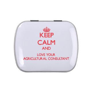 Guarde la calma y ame a su asesor agrícola frascos de caramelos