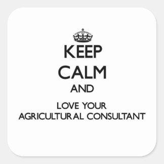 Guarde la calma y ame a su asesor agrícola calcomanias cuadradas