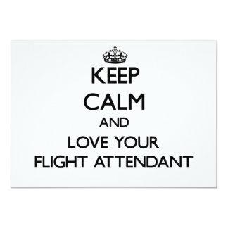 Guarde la calma y ame a su asistente de vuelo invitacion personal