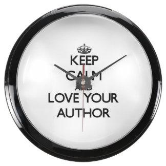 Guarde la calma y ame a su autor reloj acuario