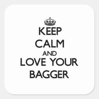 Guarde la calma y ame a su Bagger Pegatina Cuadradas