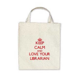Guarde la calma y ame a su bibliotecario bolsas