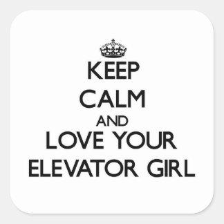 Guarde la calma y ame a su chica de elevador calcomanía cuadradas personalizadas