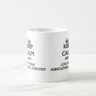 Guarde la calma y ame a su científico agrícola taza de café