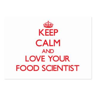 Guarde la calma y ame a su científico de la comida tarjetas de visita grandes