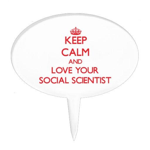 Guarde la calma y ame a su científico social figura de tarta